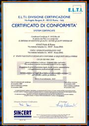 ANACI Prov. Roma certificata UNI EN ISO 9000:2015