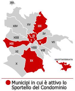 municipi in cui sono attivi gli sportelli del condominio: Roma Centro Storico (I,II,III,IV,V,VI,VII,VIII,IX,X,XI,XII,XIII,XIV,XV